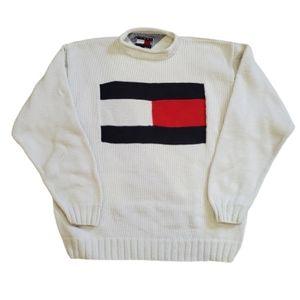 Tommy Hilfiger Vintage Big Flag White Sweater, L